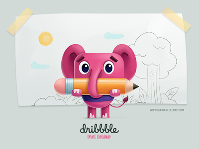 Dribbble invite giveaway draw sketch mexico draft invite illustration children kids giveaway dribbble elephant
