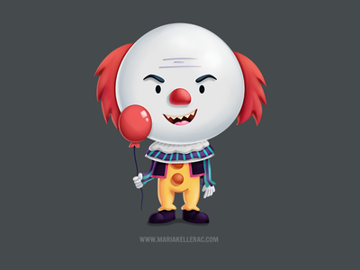 90's Pennywise mexico balloon children illustration charcater cartoon kids 90s halloween clown it pennywise