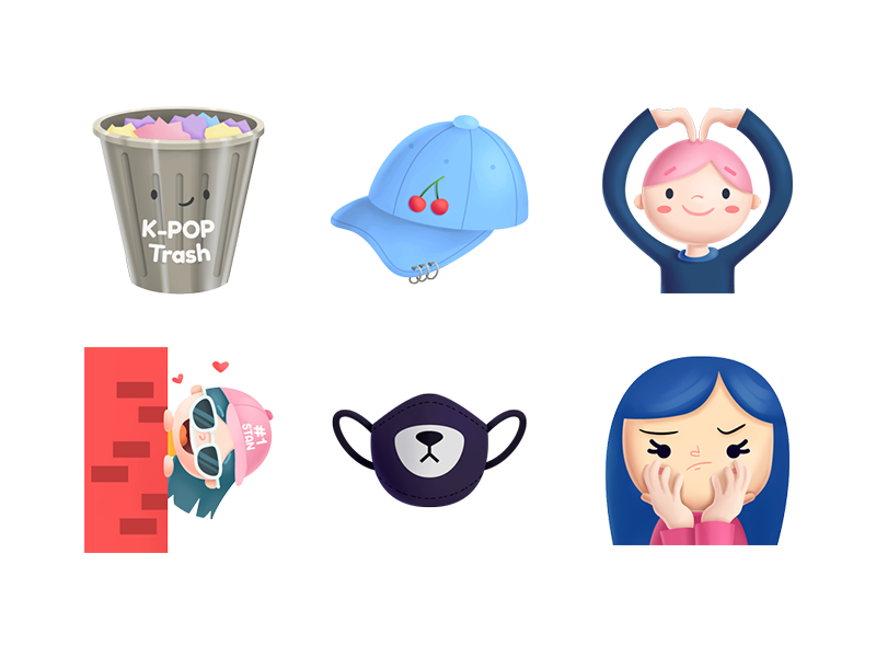 K-pop Stickers illustration app icons stickers mexico kawaii cute trash stalker amino k-pop