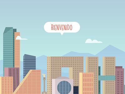 Mexico City gradients valley buildings design cdmx app vector city illustration mexico