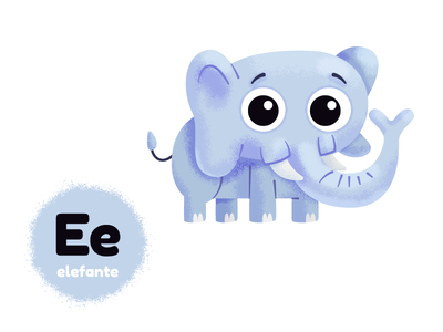 E de elefante mexico childbook kids vocales alphabet kidlitart vector character art animal elefante elephant vowels alfabetp illustrator