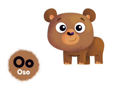 O de oso oso bear art book character characters colour cute draw drawing learning abc vowels spanish illustration illustrator vector kids kidlit education