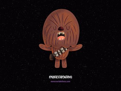 #maythe4thbewithyou fanart characters cartoon kidlit movies procreate kids children cute kidlitart chewbacca starwars illustration