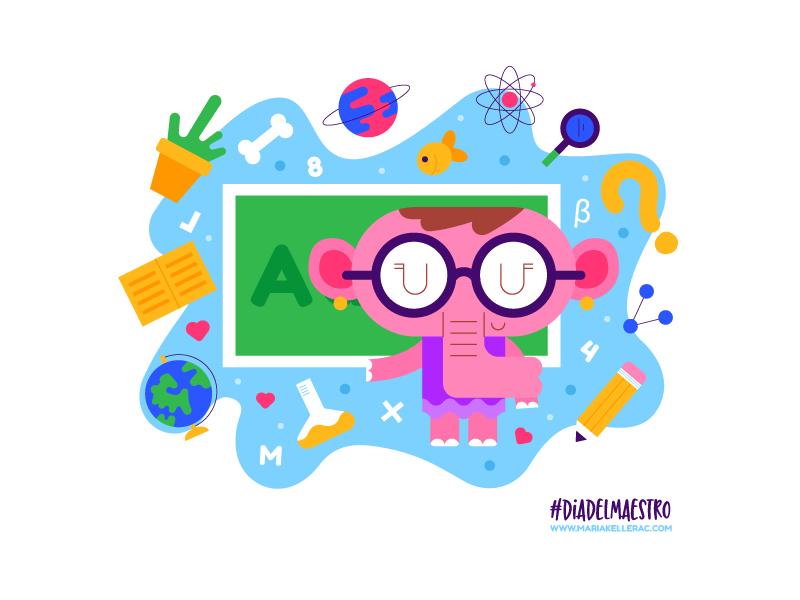 Dia del maestro cartoon mexico school learn education kidlitart illustration character vector elephant cute maestro teacher