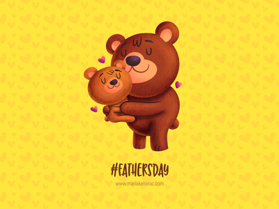 Father's Day 2019 hashtag mexico children kids cute procreate illustration kidlitart love oso hug cartoon bear fathersday father