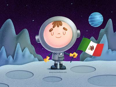 Mexican Astronaut space cute kawaii kidlitartist imagination procreate characters cartoon kidlitart children astronauta kids illustration mexico astronaut