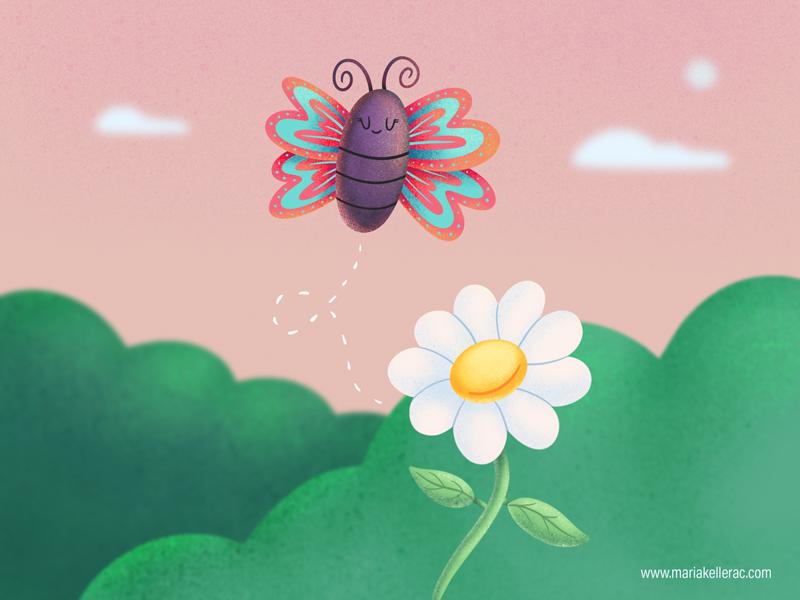Butterfly cuteart flower spring kawaii mexico children kidlitart kids cartoon butterfly procreate illustration