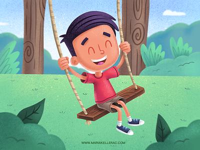 Fun artmash book illustration kids swing children illustration kidlitart mexico ipadpro cuteart procreate park