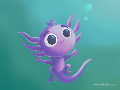 Axolotl water bookillustration baby axolotl mexico illustration children kids cute character procreate