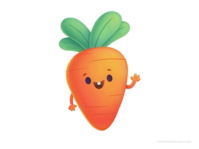 Carrots children zanahoria procreate veggies carrot cartoon kidlitart character cute kids illustration mexico