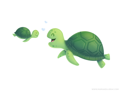 Unconditional love kidlitart mom love turtles procreate children character cute cartoon kids mexico illustration