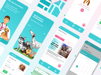 App Screens calendar pet vaccination tabs product app dailyui ui design challenge ux design appui palletes graidents color theory teal green doctor dog app branding ui illustration user interface user experience