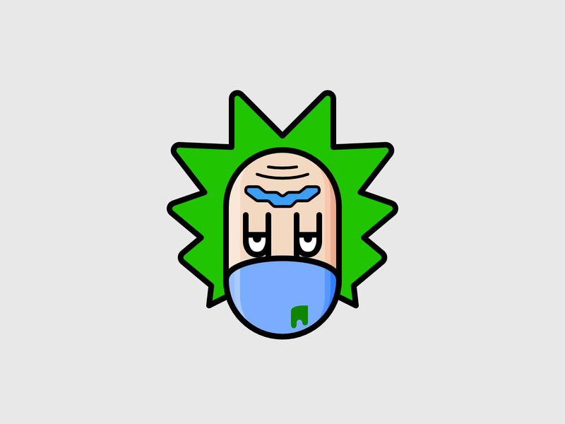 SickRick - Stay Healthy! vector symbol sign ricksanchez rickandmorty rick pixel perfect minimal icon clean cartoon affinitydesigner affinity 8px