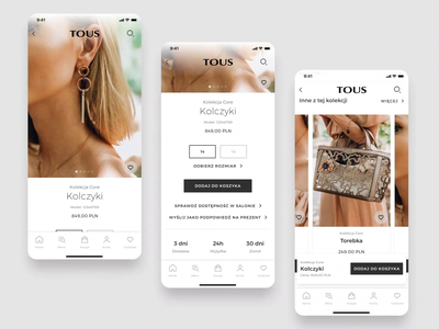 Product card concept for TOUS web design uiux shopware pwa progressive web app modern ui mobile magento mobile iphone interaction flinto figmadesign ecommerce design clean animation after effects
