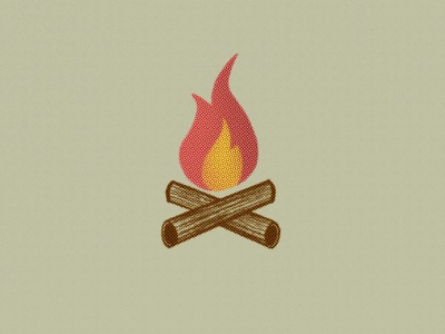 Campfire oldschool vintage matches illustration drawing procreate camp forrest wood campfire fire halftone industrial sketch symbol sign logo icon