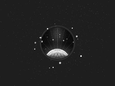 Planet icon dark empty spaceart grain window spaceship drawing planet moon space procreate starts minimal illustration sketch design symbol sign icon logo