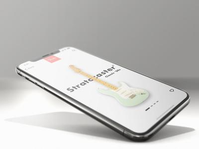 Guitar presentation concept app design sketch uidesign slider app appdesign iphonex iphone ios guitar fender stratocaster strat