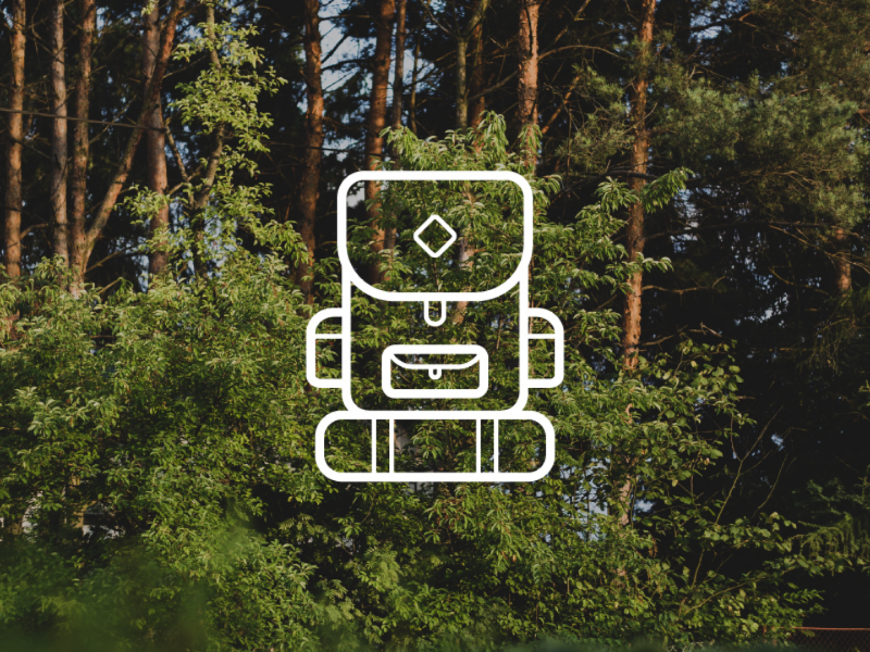Into the woods - backpack icon freedom hike bag symbol adventure explore travel green forest woods icon backpack