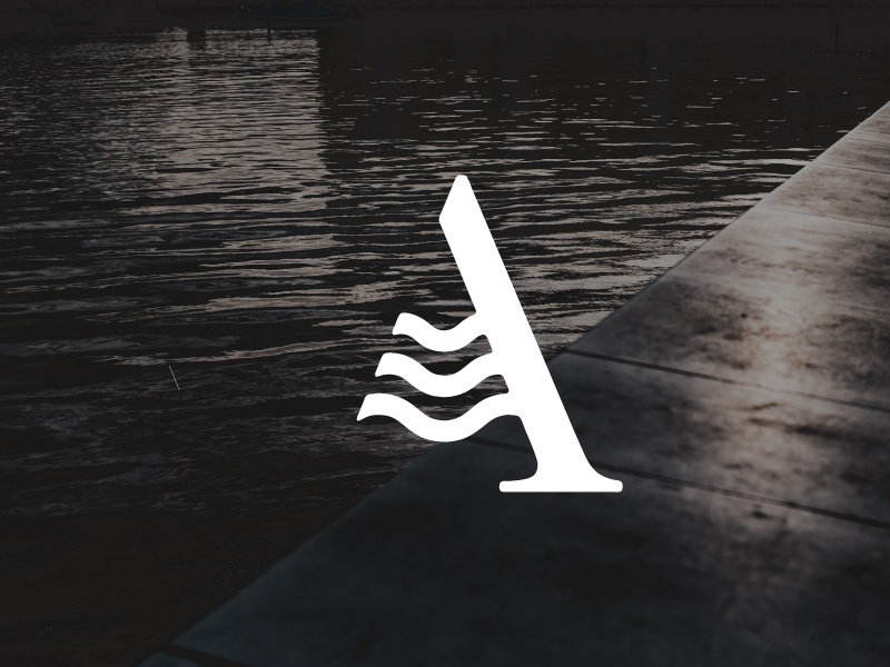 A wave - letter sail boat nautical water wave logo icon sign a letter
