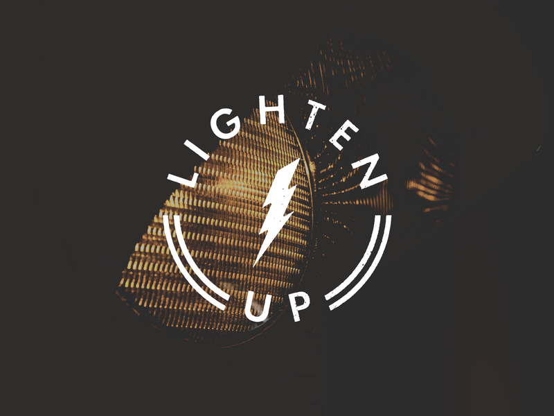 Lighten Up light typography rounded circle clean sticker industrial symbol minimal design sign icon logo
