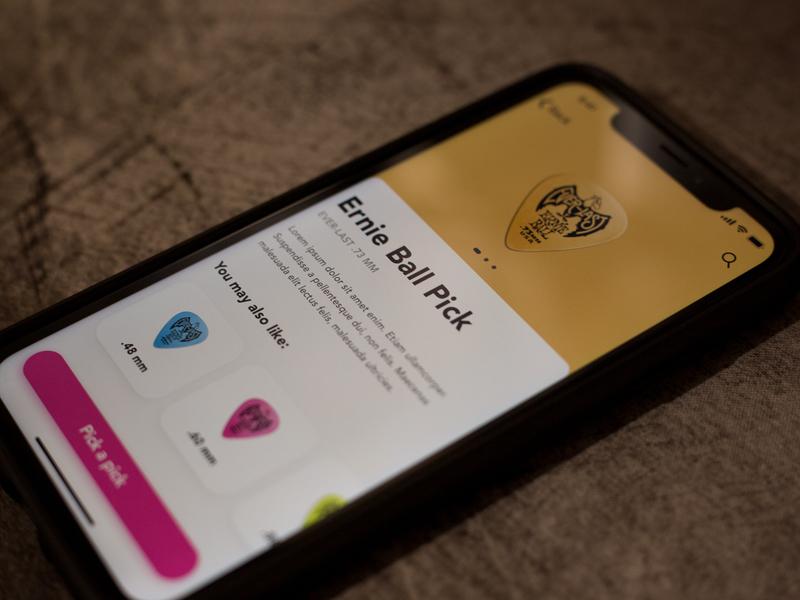 Pick app iphone xr pick sketch app ernie ball ios ui sketch clean app design minimal