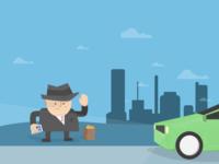 Carpool Scene Illustration