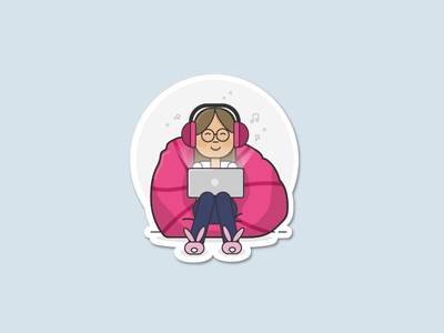 Happy Hang-Out Place character sticker flat outline design relax bean bag beanbag chair beanbag dribbble