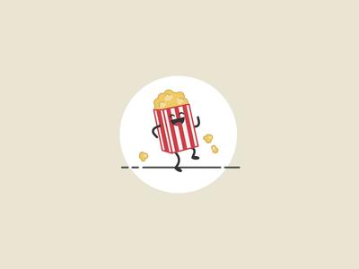 30 Minute Challenge - Favorite Snack movie snack snacks pop corn illustration outline flat dancing popcorn