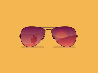 30 Minute Challenge - Sunglasses sunset cactus desert challenge 30minute 30 minute challenge illustration gradient sunglasses