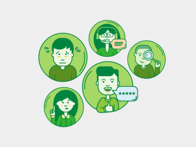 Character Illustrations phone talk voip search thumbs up worried people flat line illustration character