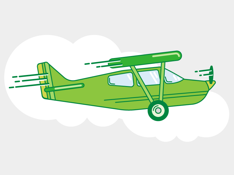 Little green plane bi plane biplane flying clouds line illustration plane airplane