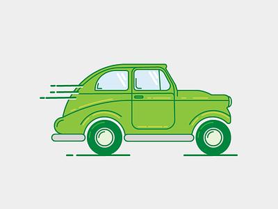 Little green car driving automobile flat illustration line car