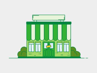 Little green business business green shop building flat line illustration small business