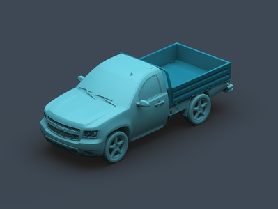 pickup truck_ Isometric green chevrolet 3dpickup pickup car illustration modeling render maya 3d