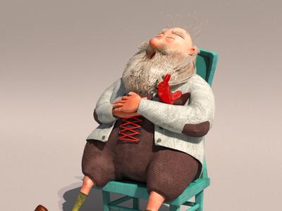 3D Character-Chicken man beard hair chicken man maya illustration modeling render cartoon 3d