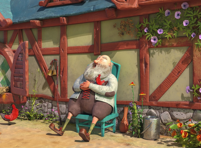 The bird house 3D version style character design stylized character chicken woods illustration render modeling cartoon maya 3d