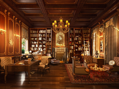 Old office old office library 3d maya vray