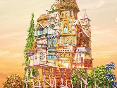 Princess kira Castle magicalbuilding woods fantasy forest 3d maya
