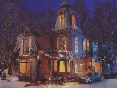 Christmas Night pumbkin light house night christmas
