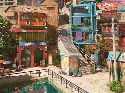 ElaneTown1 village 3d maya 3dtown