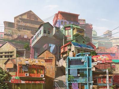 Elane Town 02 colorfulhouses village illustration maya cartoon