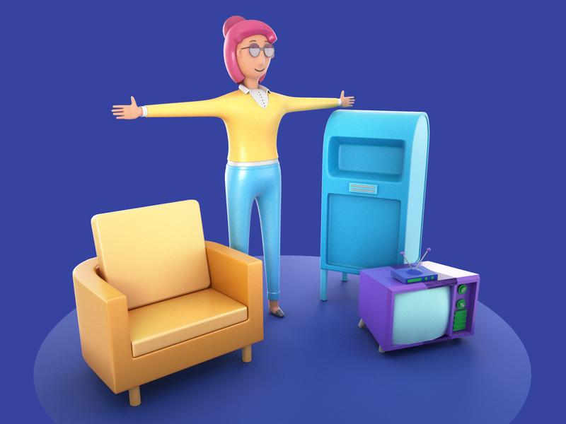 Test Models render lowpoly low maya modeling cartooncharacter character concept cartoonchair atm tv cartoontv 3d cartoon character