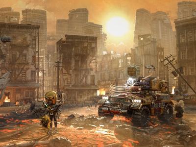 New Life_Apocalyptic Robot fog smoke lava damaged houses 3d tank robot apocalypce apocalyptic
