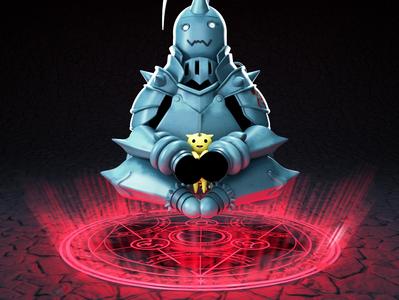 Al-Fullmetal alchemist 3drender render illustration fun transmutation cartoon character cartoon alchemist fullmetal maya 3d