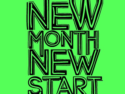 New Month, New Start! Lets go! typography poster illustration minimal clown shoes