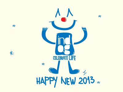 Happy new 2013 new year card clown skopje minimal indog ind.o.g blue dancing celebrate life