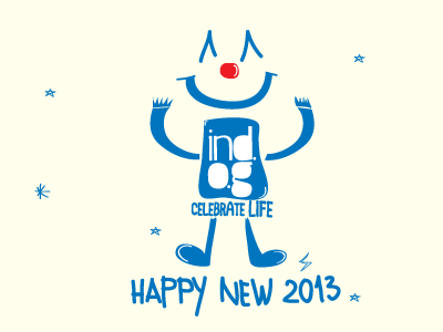 Happy new 2013 new year card clown skopje minimal indog ind.o.g blue dancing celebrate life