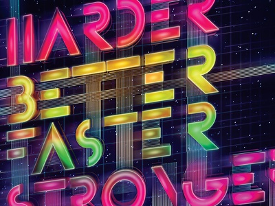 Daft Punk - Typopgraphy Poster daft punk retro harder better faster stronger neon 3d typography type