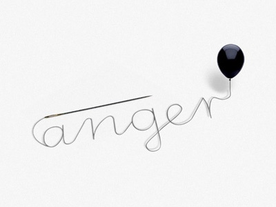 Anger anger typopgraphy concept needle balloon