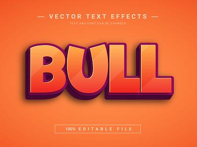 Bull 3D Full Editable Text Effect Mockup Template animal bull font effect vector text effect text 3d text graphic design 3d